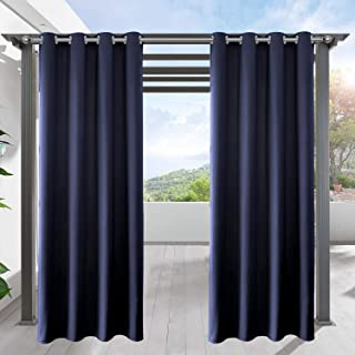 LIFONDER Patio Outdoor Curtains - Water Repellent Silver Grommet Blackout Drape Shade Blind Curtain Panel for Canopy/Pergola/Yard Privacy, W52 by L95 Inches, Navy Blue, 1 Pc