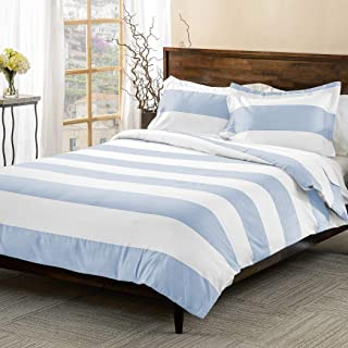 3 Piece Light Blue White Rugby Stripes Duvet Cover Full Queen Set, Cabana Striped Bedding Hotel Like 600 Thread Count Nautical Solid Color Sports Themed, Cotton Polyester Blend Sateen Soft Button