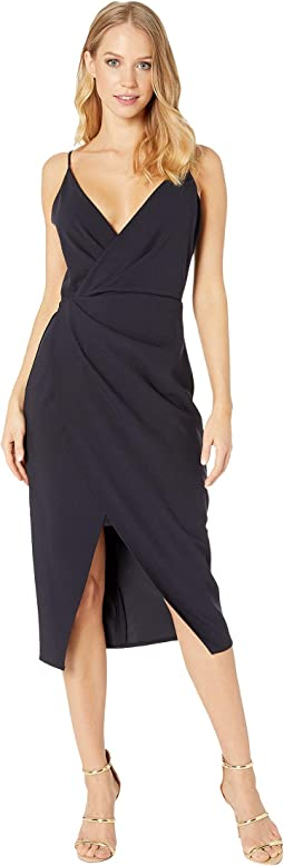 Scuba Crepe V-Neck Faux Wrap Dress
