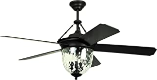 Litex E-KM52ABZ5CMR Knightsbridge Collection 52-In Indoor/Outdoor Ceiling Fan with Remote Control, Five Dark Aged Bronze ABS Blades Single Light Kit with Hammered Glass, Works with Alexa (Renewed)