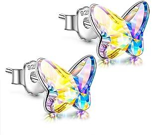 ANGEL NINA Pendientes Mujer Plata,Pendientes niña de ley 925 con Cristal de Austria Pendientes Mariposa Regalo del dia de ...