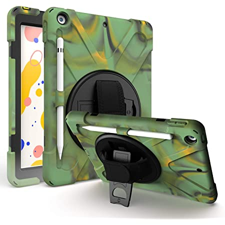 """iPad 8th 7th Gen Case 10.2, KIQ Heavy Duty Shockproof Protection, Kickstand, Hand Strap, Pencil Holder Loop, Carry Shoulder Sling for Apple iPad 7/8 10.2"""" 7th 8th Gen [2019/2020] [Camouflage]"""