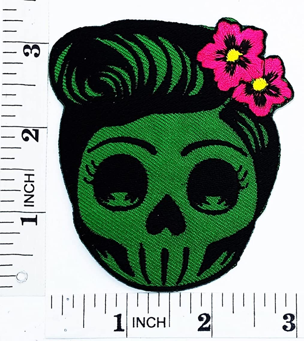 Flower Sugar green Skull (green) Day of the Dead Lady Rider patch Motorcyle Bike Novelty patch Symbol Jacket T-shirt Patch Sew Iron on Embroidered Sign Badge Costume