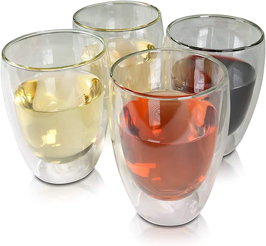 Stemless Wine Glasses Set Of 4 Insulated Double Wall Wine Glass Tumblers 12 Ounces For Red Or White Wine 4 Pack By Princeton Wares