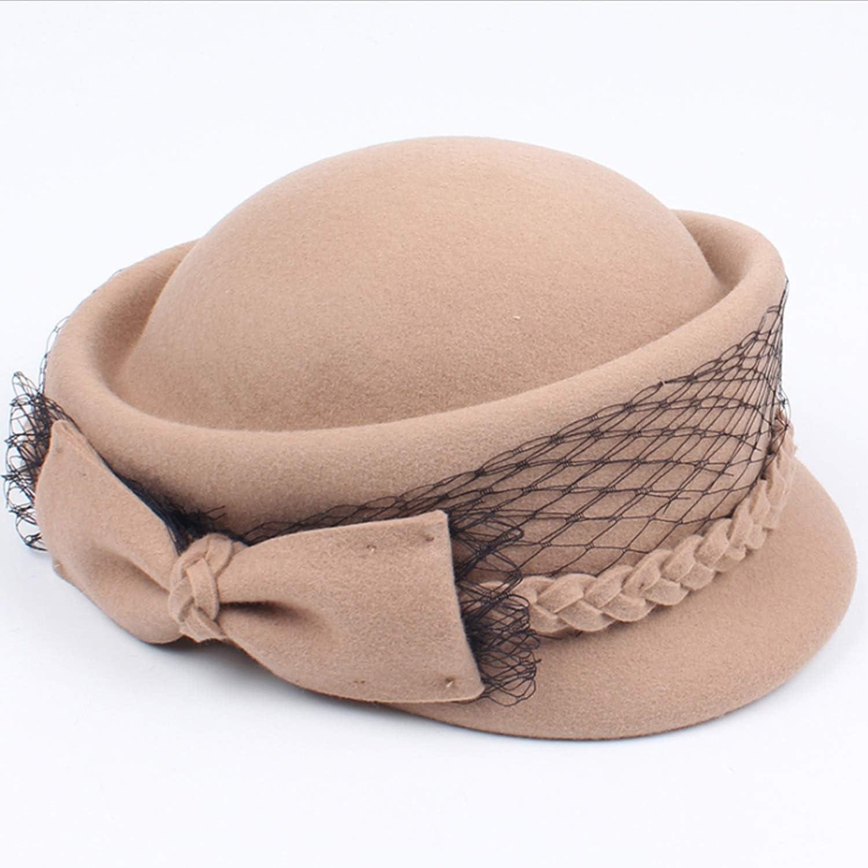 Women Winter Hat Lady AutumnWinter New Made Bowtie Mesh Beret Wool Elegant Fashion Top Hat warm