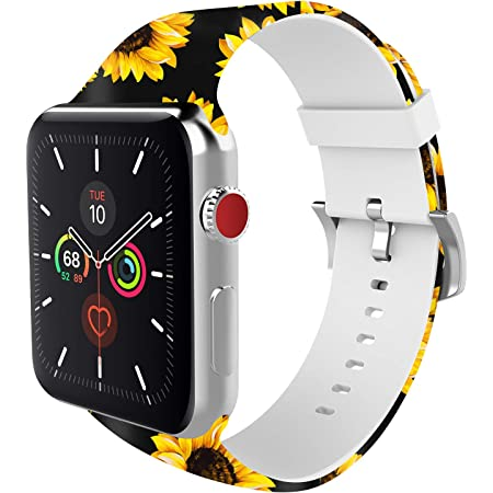 BMBEAR Sports Band Floral Bands Compatible with Apple Watch Band 42mm 44mm Soft Silicone Fadeless Pattern Printed Replacement Sport Band for iWacth Series 6 5 4 3 2 1 Sunflower