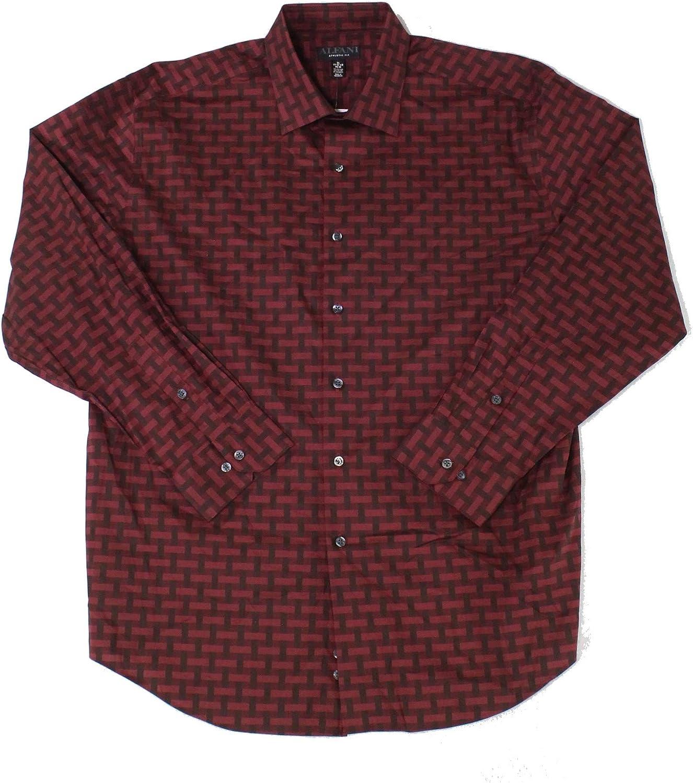Alfani Mens Dress Shirt Athletic Fit Stretch Printed Red 15 1/2
