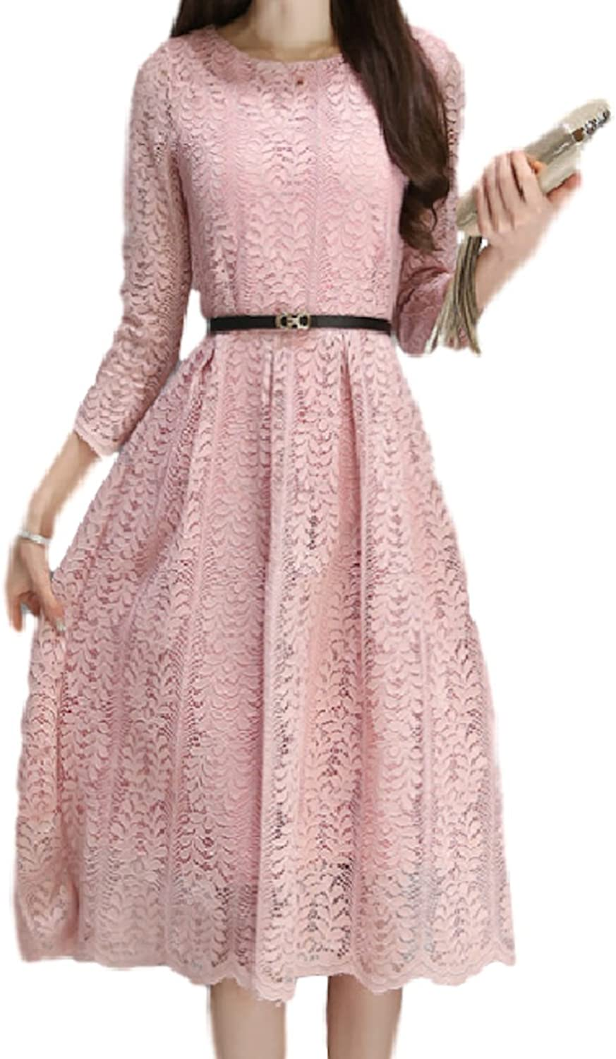 Tsstore Women's Floral Lace Pierced Slim Party Cocktail Dress
