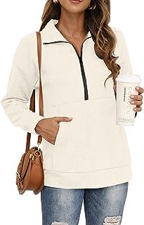 Sponsored Ad - Glanzition Women's Lightweight Lapel Zipper Sweatshirts Pullovers with Pocket Long Sleeve