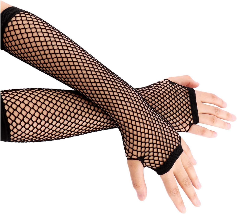 GUYANMAY Lace Gloves Neon Fishnet Fingerless Long Gloves Leg Arm Cuff Party Wear Fancy Dress for Womens Beautiful Arm Warmer