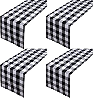 Aneco 4 Pack Checkered Table Runner Cotton Plaid Table Runner Modern Plaid Design Elegant Decor for Indoor Outdoor Events 13 x 108 Inches Black and White
