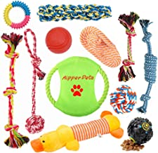 Aipper Dog Puppy Toys 12 Pack, Puppy Chew Toys for Playtime and Teeth Cleaning, IQ Treat Ball Squeak Toys and Dog Flying Disc Included, Puppy Teething Toys for Medium to Small Dogs, (Assorted Colors)
