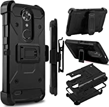 Zenic Compatible with ZTE MAX XL Case, ZTE N9560 Case, Zenic Heavy Duty Shockproof Hybrid Full-Body Protection Case Cover with Swivel Belt Clip and Kickstand Compatible with ZTE Max XL (Black)