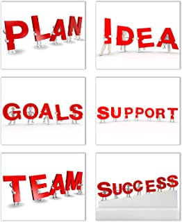 Positive Motto/Expressions for Success Wall Art: Set of 6-Inspire and Support a Mindset to Plan, Set Goals, Share Ideas, and Work as a Team as Motivation for Success. Unframed Poster Photos (8
