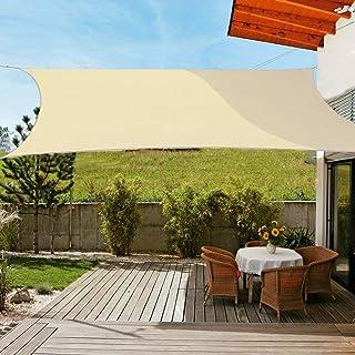 OldPAPA Sun Shade Sail Rectangle Waterproof Sun Shade 95% UV Block Sunscreen Awning Garden Beach Patio Canopy Cream 2x3m