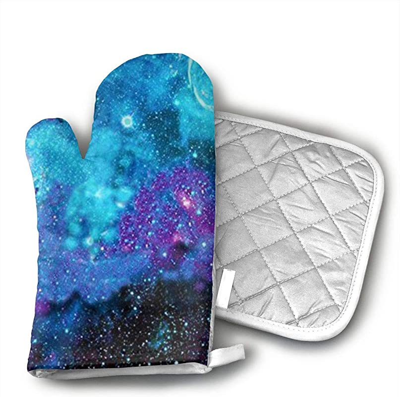 JSPOR07 Galaxy Oven Mitts Fashion Design Heat Resistant Oven Gloves Safe Cooking Baking Grilling Barbecue Machine Washable Pot Holders