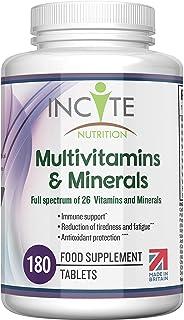 Multivitamins and Minerals   180 Vegan Tablets   26 Key Vitamins and Minerals for Women and Men   6 Months Supply   Multiv...