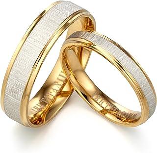 Dos tonos Anillo de oro Anillo de plata Anillo de compromiso(con grabado personalizable, de titanio)