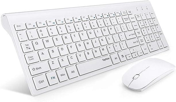 TopMate portátil Ultra Slim Silencio Teclado inalámbrico y ratón Combo, Oficina ratón USB inalámbrico (Negro, Color Blanco)