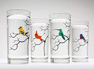 Bird Glassware Set of 4 Bird Glasses, Birds, Glassware, Cardinal, Finch, Hummingbird, Bluebird
