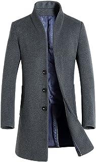 Men's Trench Coat Wool Blend Slim Fit Long Jacket Business Pea Overcoat