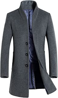 Minibee Men's Trench Coat Wool Blend Slim Fit Long Jacket Business Overcoat