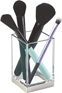 iDesign Clarity Metal Tumbler Makeup Brush Toothbrush Holder for Bathroom, Countertop, Desk, Dorm, College and Vanity, Clear and Brushed