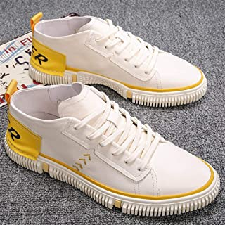 Casual Shoes Men's Summer 2019 Hong Kong Style Breathable Korean Version of The Trend of Wild White Shoes Sports Board Shoes Tide Shoes Thin Section (Color : White and Yellow, Size : 43)