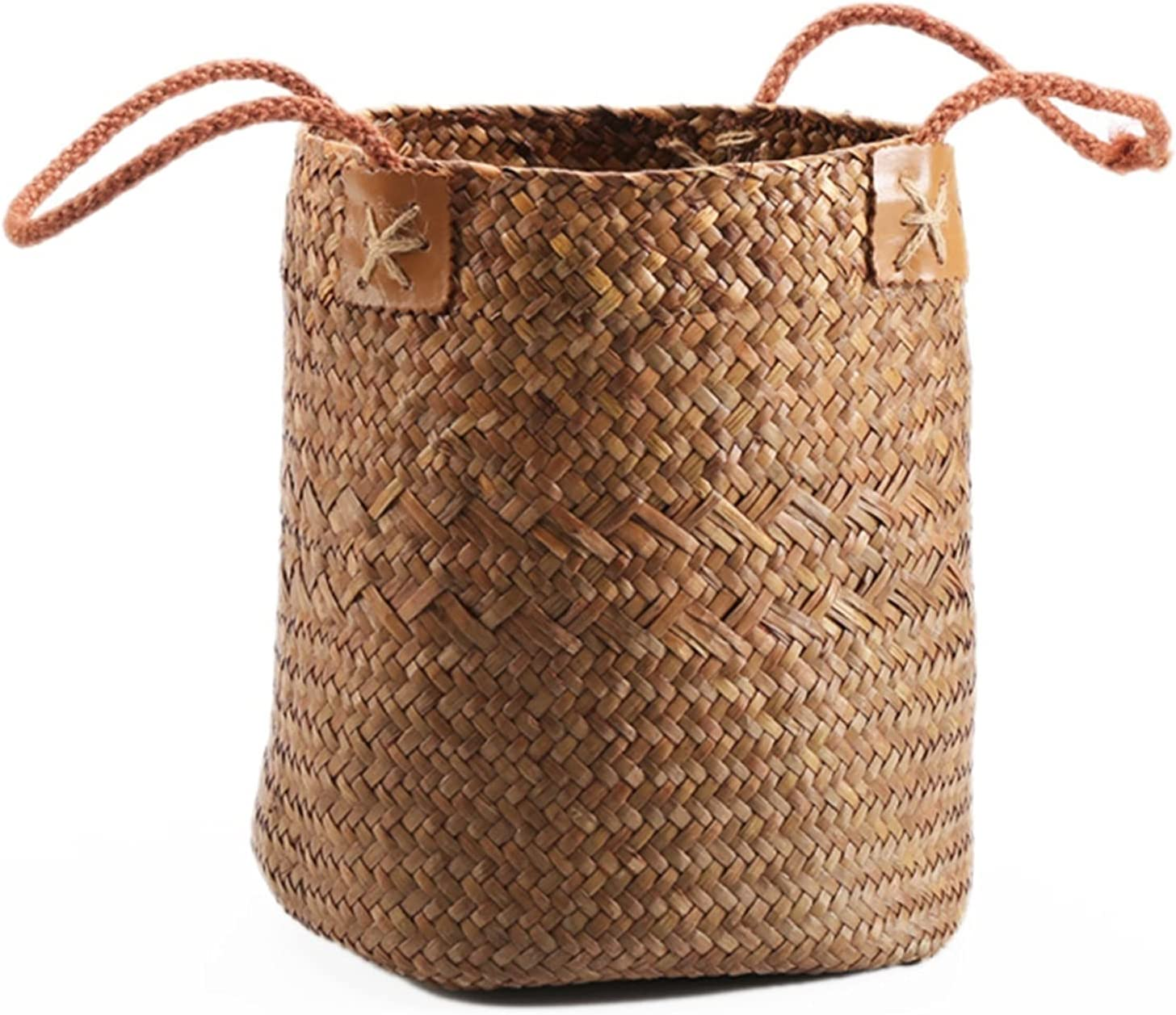 lxm Woven Seagrass Belly Basket Laundr Storage for Max 47% OFF Style Quality inspection Nordic