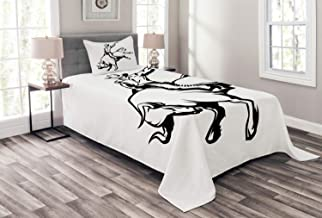 Ambesonne Rodeo Bedspread, Cowboy Riding a Wild Bull Minimalist Folklore Old West Extreme Sports, Decorative Quilted 2 Piece Coverlet Set with Pillow Sham, Twin Size, Charcoal Grey and White