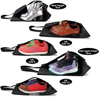 Wanapure Clear Window Travel Shoe Bags Set (5 Pack), Portable Water Repellent Nylon Shoe Pouch for Men Women 6-14 Size Shoes, Extra Large Space Saving Zipper Shoe Storage Bag, Black (3M+2L)