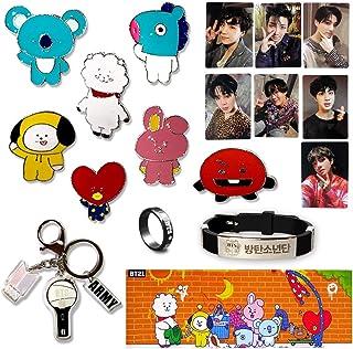 Fatyi BTS Gift Set, Metal Badge Pin, Wirstband, Ring, Banner,Lomo Card, Keychain