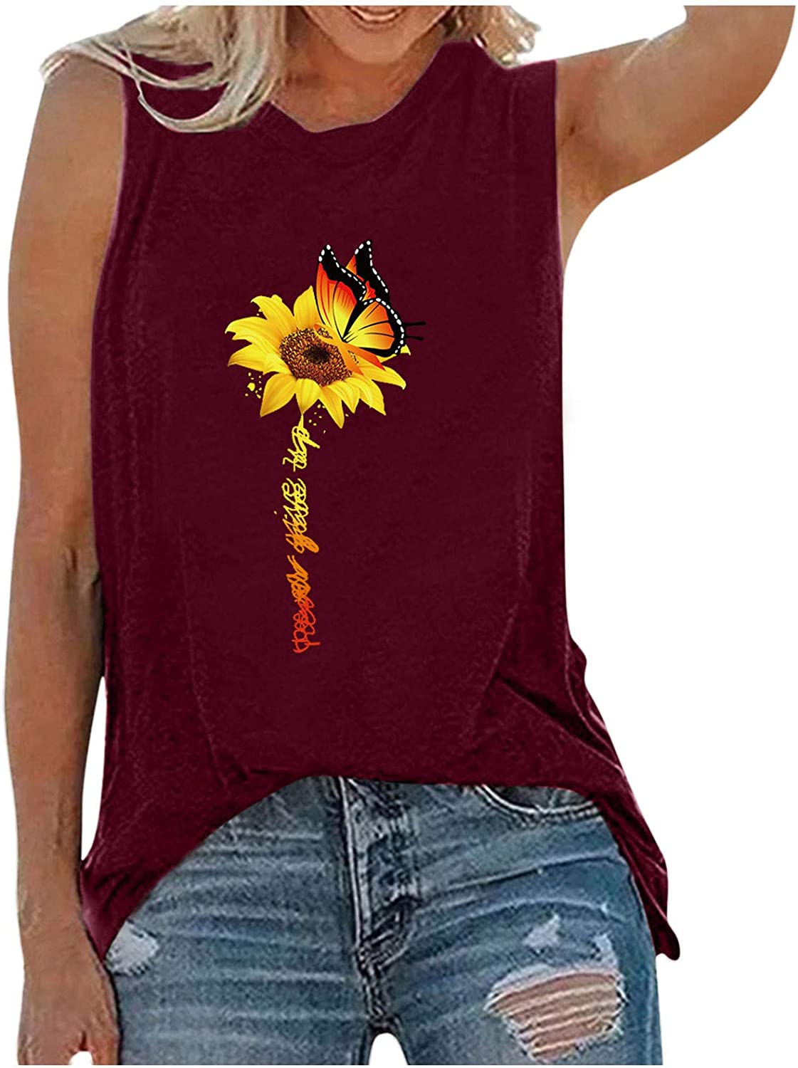 Tank Tops for Women,Women Tank Tops, Womens Sexy Letter Printed Shirts Crop Top Sleeveless Blouse Loose Tank