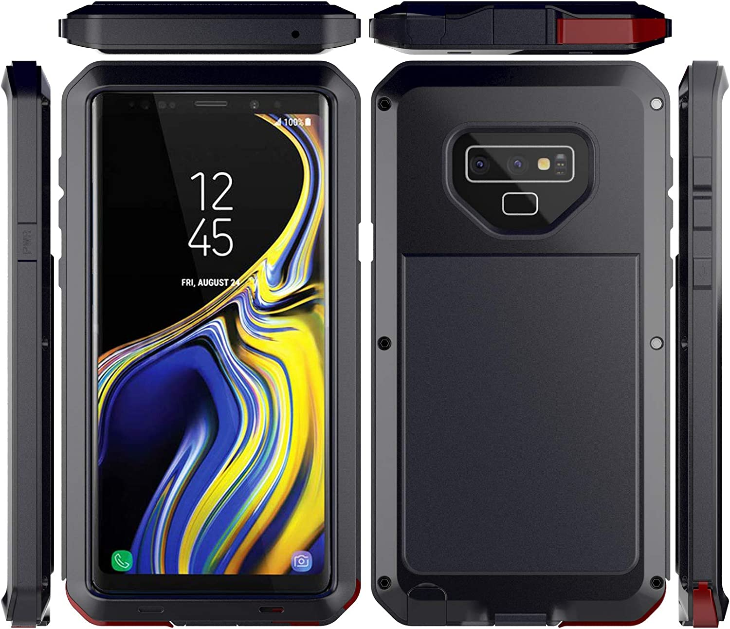 Galaxy Note 9 Case,Lilycase Armor Heavy Duty Hybrid Aluminum Metal Shockproof Military Shockproof Hard Cover for Samsung Galaxy Galaxy Note 9 Newest - Black