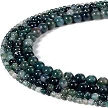 6mm Natural Round Green Moss Agate Beads Semi Precious Gemstone Beads for Jewelry Making Strand 15 Inch (63-66pcs)