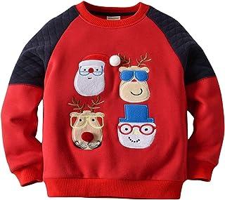 eaa92f34243b6 mimiwinga Sweat-Shirt Polaire Noël Bébé Garçon Sweater Manche Longue Enfant  Automne Hiver Pull de