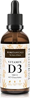 Vitamina D3 1000 UI por gota. dosis alta probadas en laboratorio – Larga duración 1700 gotas (50 ml) - En aceite MCT