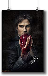 Pentagonwork The Vampire Diaries TV Photo Poster Prints 058-007 Damon Salvatore Ian Somerhalder Reprint Signed Casts,Wall Art Decor Gift (A4|8x12inch|21x29cm)
