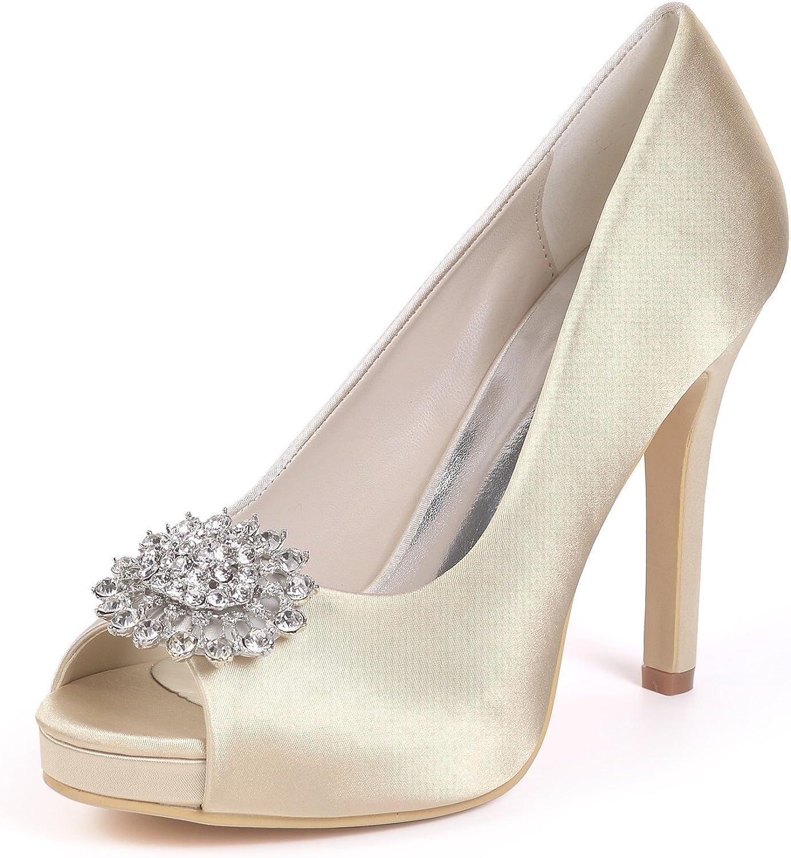 L@YC Frauen Hochzeit Schuhe Braut Toe Plattform High Heels Prom Prom Prom Court Schuhe Peep Toe Satin Strass  db5254