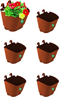 TrustBasket Set of 6 Vertical Gardening POTS/PLANTERS(Small) -Brown