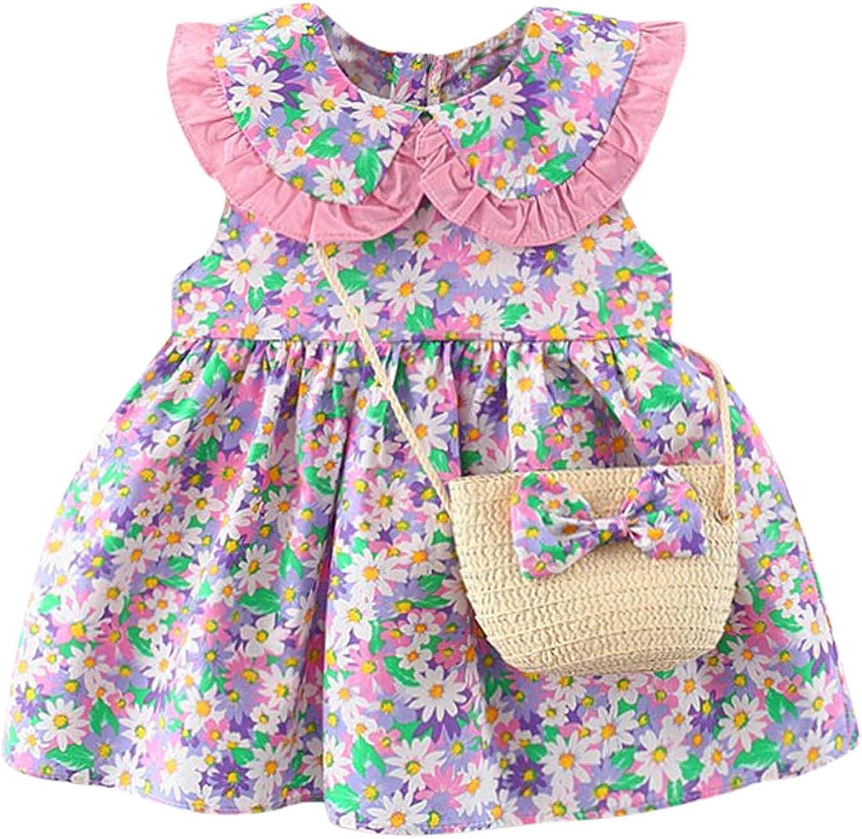 JUNLIN Girls Denim Skirt Scratch Sleeves Baby Short Sleeved Princess Dress Skirt with Backpack
