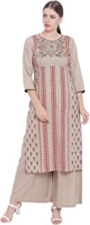 GLOYE WOMEN'S RAYON BEIGE MULTICOLOURED PRINTED KURTA WITH PALAZZO
