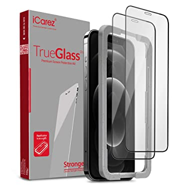 iCarez Tempered Glass Screen Protector for iPhone 12 Pro Max 6.7-inch Case Friendly [Full Coverage + Tray Installation] Easy to Apply [ 2-Pack 0.33MM 9H 2.5D Black Frame]