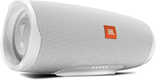 JBL Charge 4 by Harman Powerful Portable Bluetooth Speaker with Upto 20 Hours Playtime, Built-in 7500 mAh Powerbank & IPX7 Waterproof (Without Mic, White)