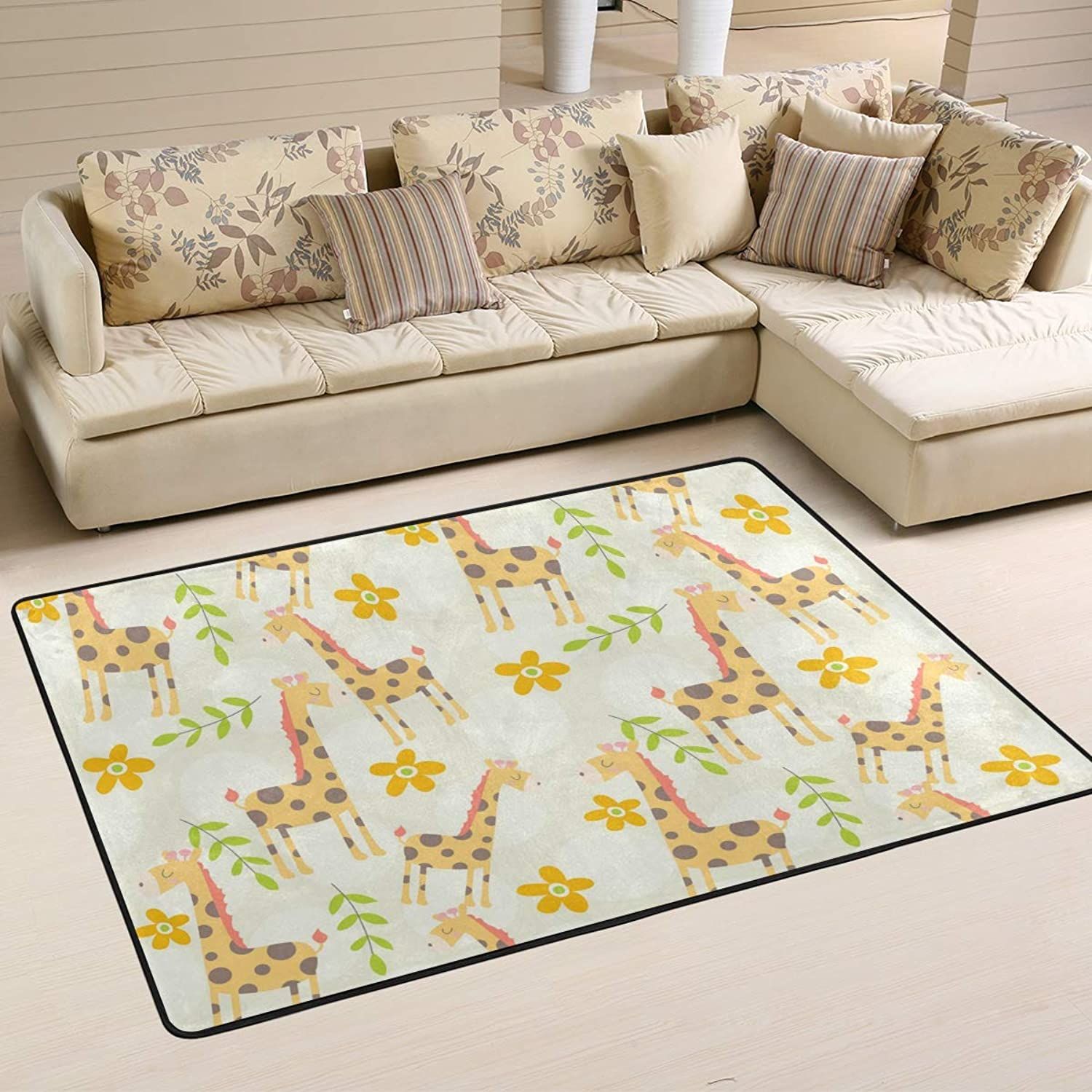 MALPLENA Cute Giraffe Rugs for Living Room Doormat Carpet Floor Mats shoes Scraper for Living Room Dining Room Bedroom Kitchen Non Slip