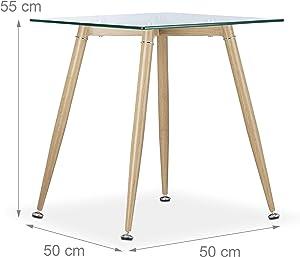 Relaxdays Tavolino da Salotto in Vetro, Struttura in Metallo in Effetto Legno, Marrone Chiaro, HxLxP: 55 x 50 x 50 cm
