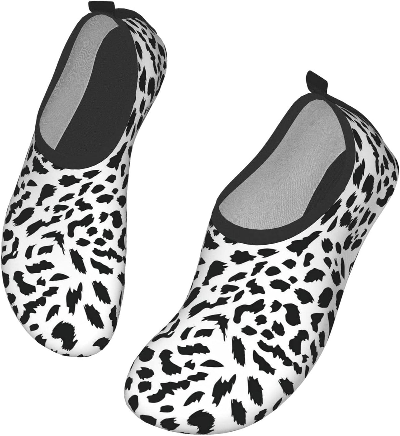 NA Black Leopard Dots On White Men's Women's Water Shoes Barefoot Quick Dry Slip-On Aqua Socks for Yoga Beach Sports Swim Surf