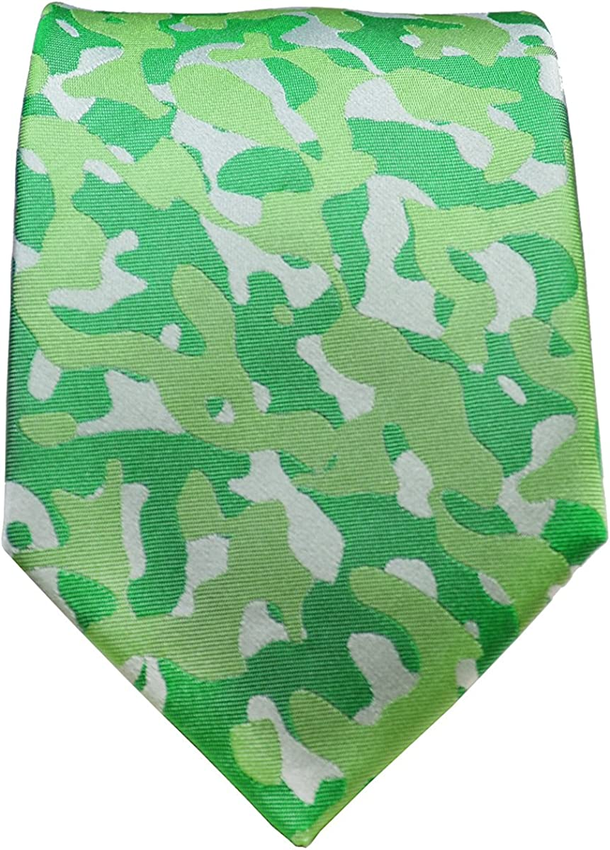 Paul Malone Camouflage Silk Tie and Pocket Square Set Green