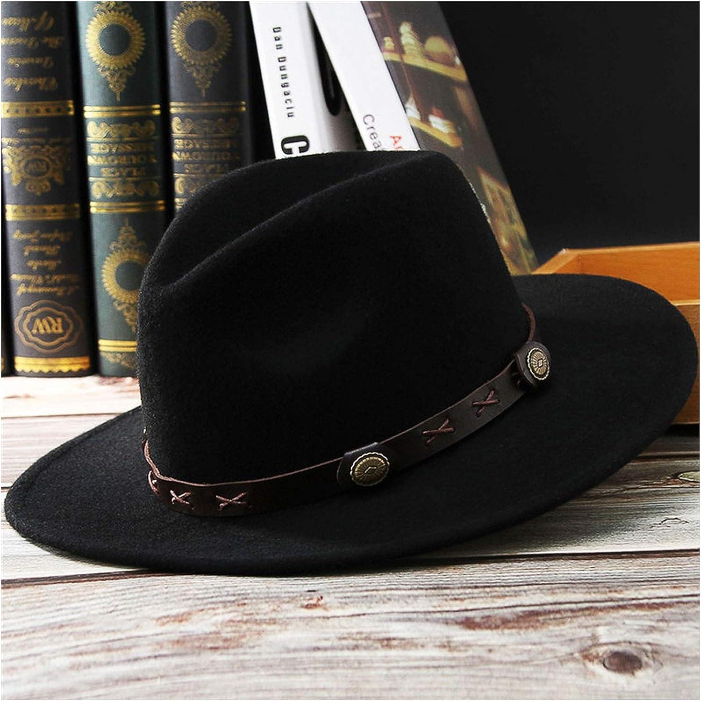 Dreamstar Wool Felt Hat Jazz Cap Retro Fedoras for Men Women Fall Spring Wide Brim Adjustable Jazz Top Hat with Box