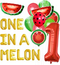 JOYMEMO Watermelon First Birthday Party Decorations, One in a Melon Balloon Sets, Number 1 Balloons, Watermelon Balloons 1st Birthday Supplies Sets